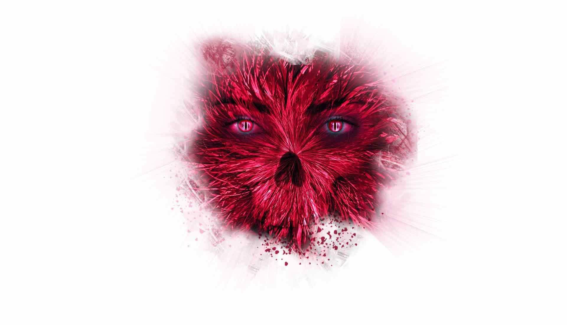 Blutrote Augen